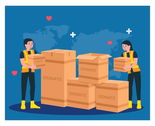 Humanitäre hilfe, helfen sie sich gegenseitig mit spenden in flachem design