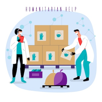Humanitäre hilfe und menschen mit lieferboxen