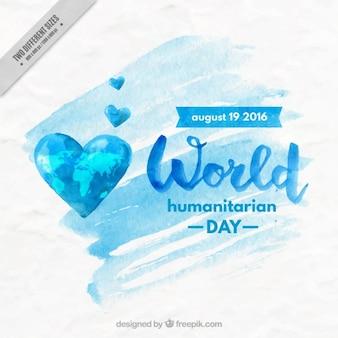 Humanitäre tag hintergrund in aquarell-effekt