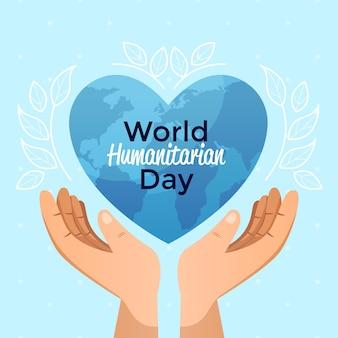 Humanitärer welttag mit händen, die herzförmigen planeten halten