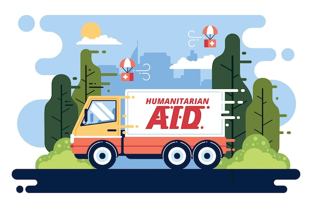 Humanitäres hilfekonzept mit lkw für hilfe