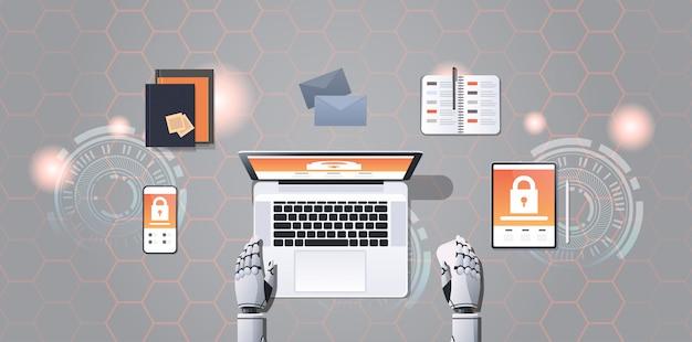 Humanoide hände mit cyber-sicherheitsnetzwerk für digitale geräte