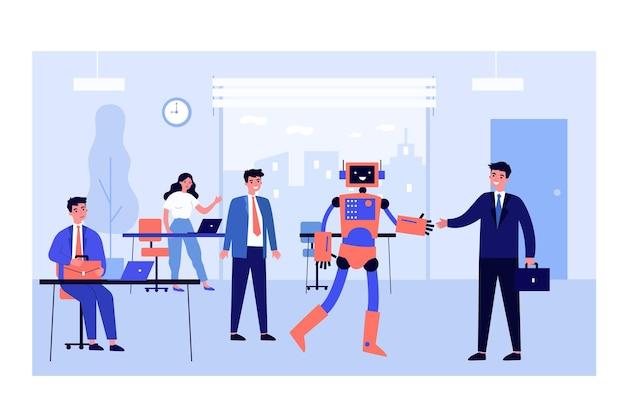 Humanoider roboter, der hände mit geschäftsmann im büro schüttelt