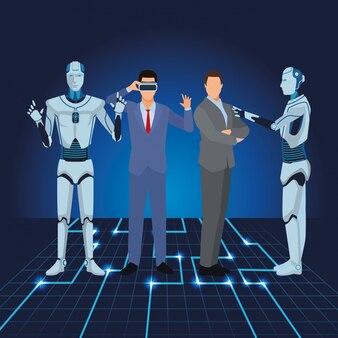 Humanoider roboter und geschäftsleute