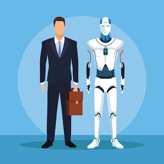 Humanoider roboter und geschäftsmann