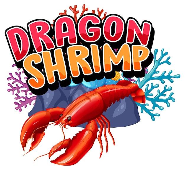 Hummer-cartoon-figur mit dragon shrimp-schriftart-banner isoliert