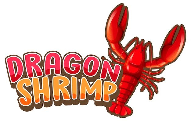 Hummer-cartoon-figur mit dragon shrimp-schriftart isoliert