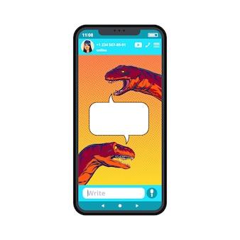 Humorvolle zeichnung von dinosaurierdialogen auf dem smartphone im pop-art-stil. illustration.