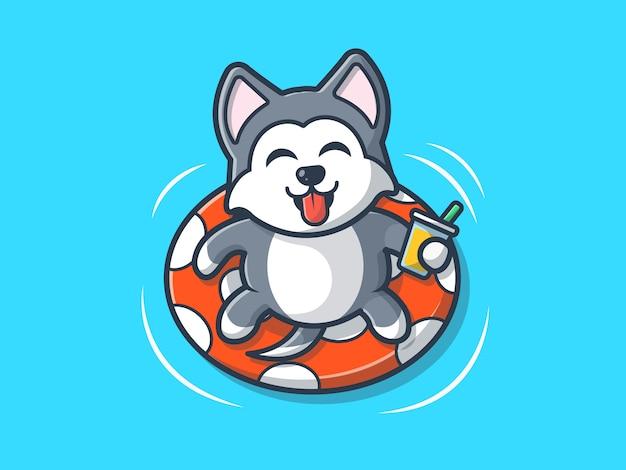 Hund am strand schwimmen