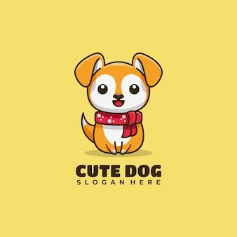 Hund charakter maskottchen logo design vector illustration