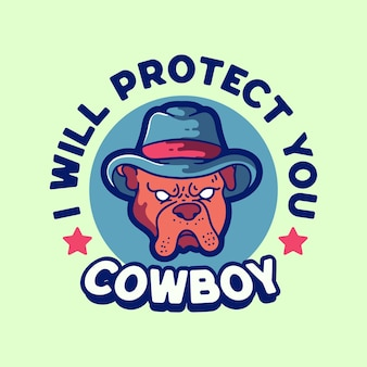 Hund cowboyhut maskottchen logo illustration