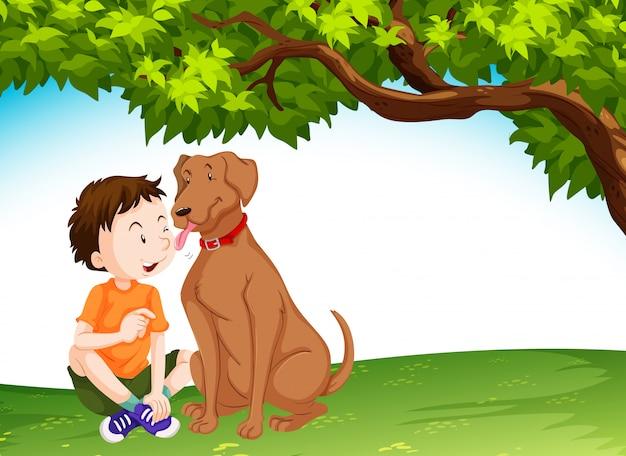 Hund, der jungen jungen leckt