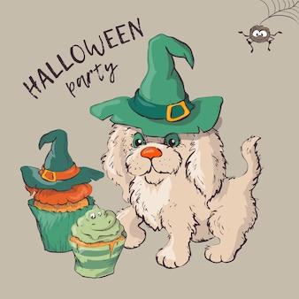 Hund, der lustige und fantastische halloween-hüte trägt