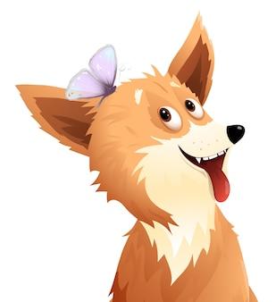 Hund, der mit schmetterling, neugierigem und lustigem welpenmaskottchen spielt.