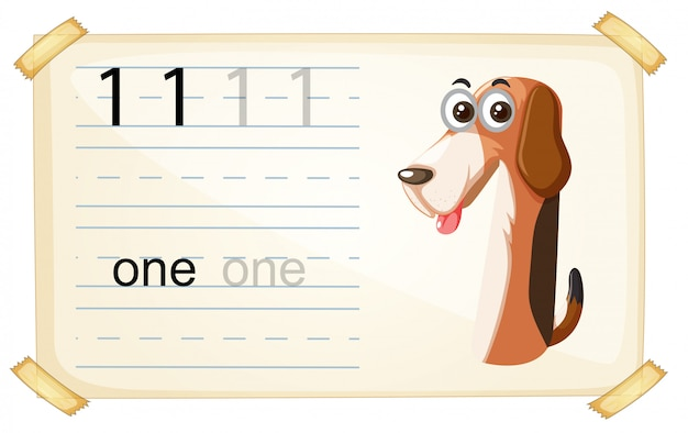 Hund eine nummer arbeitsblatt