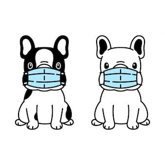 Hund französisch bulldogge gesichtsmaske covid-19 coronavirus cartoon-symbol