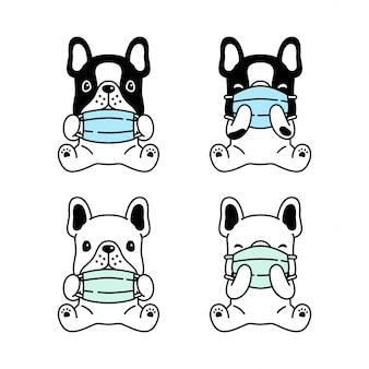 Hund französisch bulldogge gesichtsmaske covid-19 coronavirus cartoon