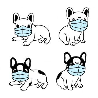 Hund französisch bulldogge gesichtsmaske covid-19 coronavirus