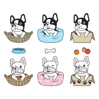 Hund französisch bulldogge kissen box cartoon