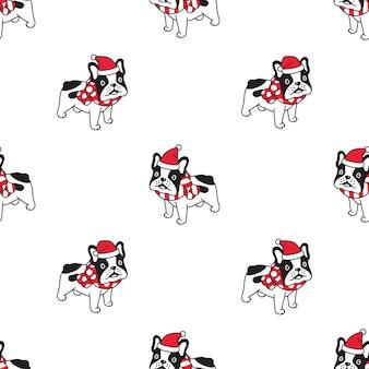 Hund französisch bulldogge nahtlose muster weihnachten santa claus hut schal