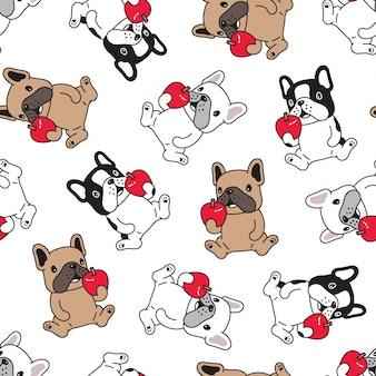Hund französisch bulldogge nahtlosen muster cartoon apfel