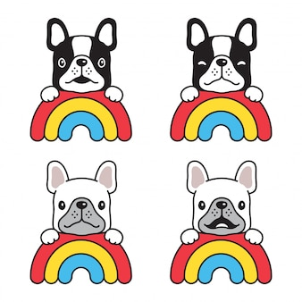 Hund französisch bulldogge regenbogen cartoon charakter illustration
