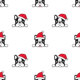 Hund französisch bulldogge weihnachten nahtlose muster santa claus hut
