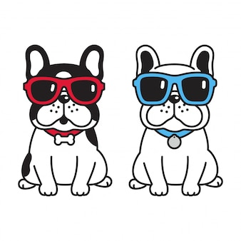 Hund französische bulldogge mit sonnenbrille