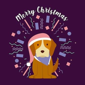 Hund frohe weihnachten feier