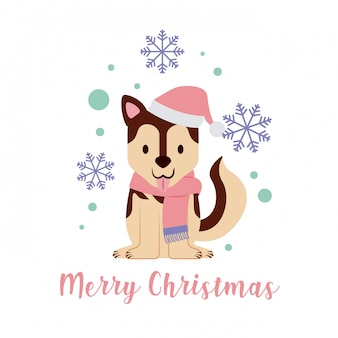 Hund frohe weihnachten karte