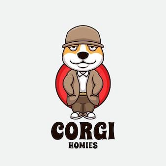 Hund homies cartoon gangster kreative cartoon logo illustration maskottchen design