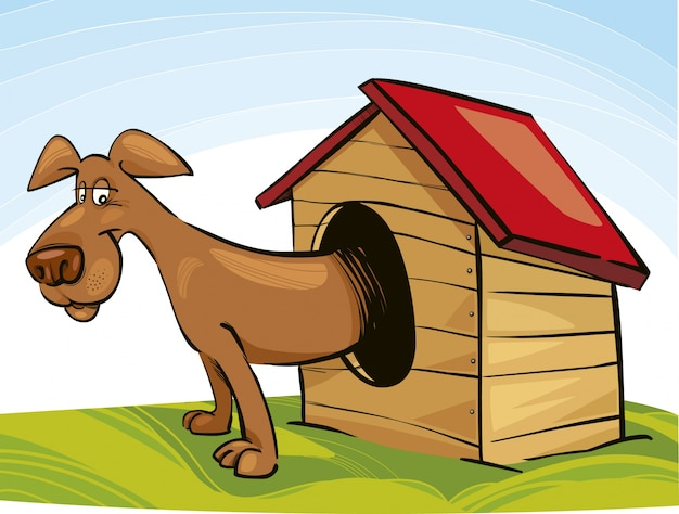 Hund im doghouse cartoon
