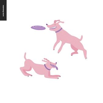 Hund im park - flache vektorkonzeptillustration von zwei hunden mit krägen. einer springt in die luft und versucht eine fliegende scheibe zu fangen. ein anderer spielt mit ausgestreckter zunge.