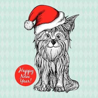 Hund im weihnachtshut