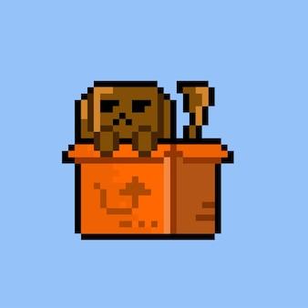 Hund in der box mit pixel-art-stil