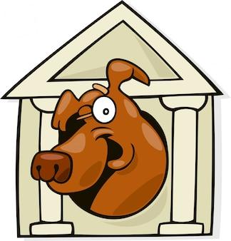 Hund in der klassischen hundehütte