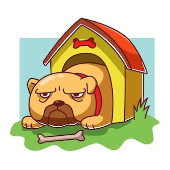 Hund in seiner hundehütte