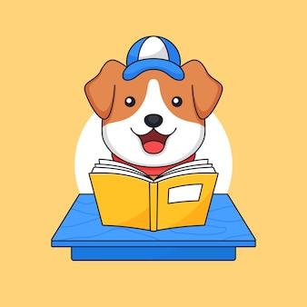 Hund lesen buch auf klassenzimmer tisch tierschule aktivität gliederung illustration maskottchen