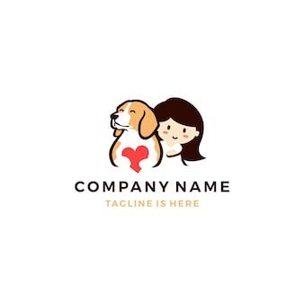Hund liebe mit kleinen mädchen logo symbol vorlage vektor-illustration