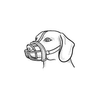 Hund mit einem maulkorb hand gezeichneten umriss doodle-symbol. haustiere im stadtleben und sicherheitskonzept für hunde