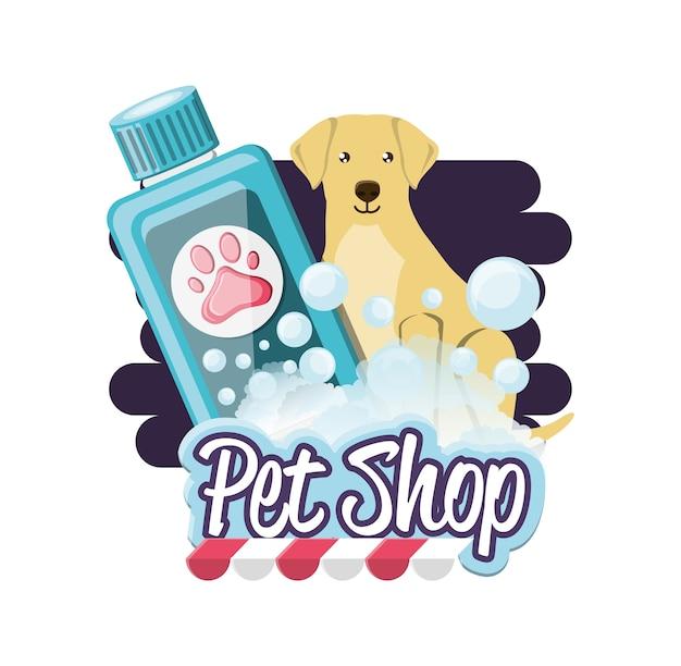 Hund mit shampoo-flasche