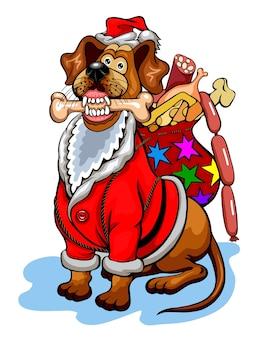 Hund mit weihnachtsgeschenken für hunde. weihnachtsvektorillustration