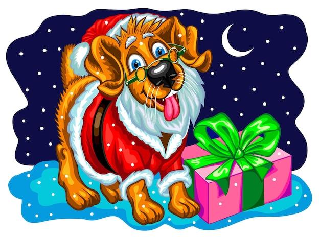 Hund mit weihnachtsgeschenken im bild von santa claus. weihnachtsvektorillustration