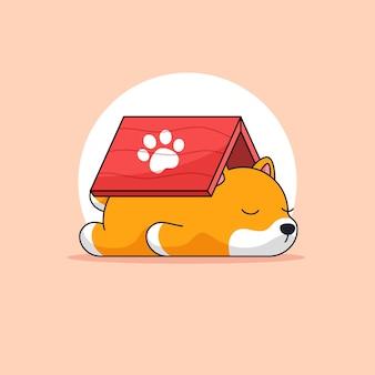 Hund müde und schlaf unter dach tieraktivität umriss illustration maskottchen
