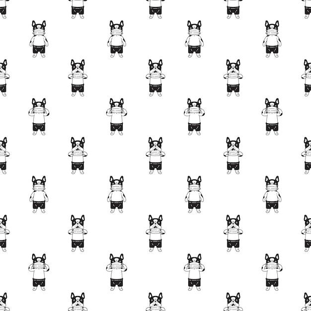 Hund nahtlose muster französisch bulldogge gesichtsmaske covid 19 zeichentrickfigur haustier welpen gekritzel
