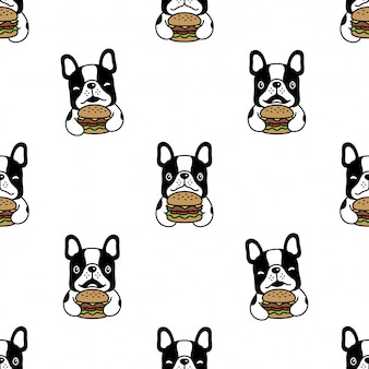 Hund nahtlose muster französisch bulldogge hamburger cartoon illustration