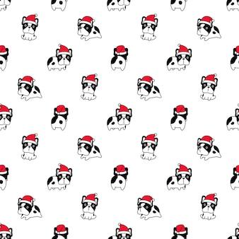 Hund nahtlose muster französisch bulldogge santa claus weihnachten