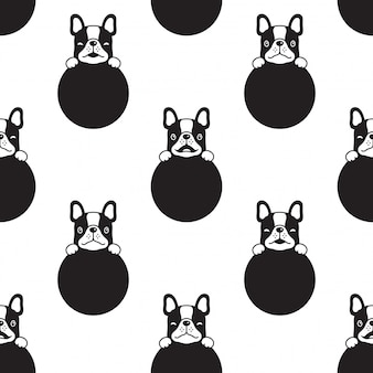 Hund nahtlose muster französisch bulldogge tupfen welpen pfote cartoon