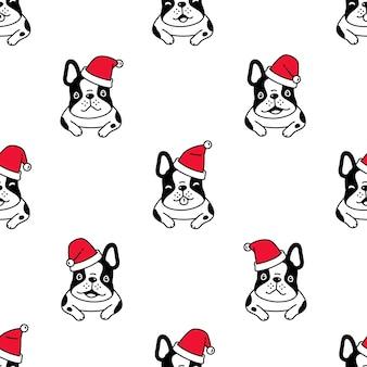 Hund nahtlose muster französisch bulldogge weihnachten santa claus hut