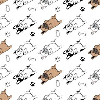 Hund nahtloses muster französisch bulldogge knochen fußabdruck ball spielzeug